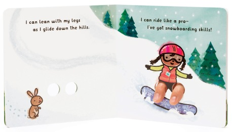 """Can lean with my legs as I glide down the hills. I can ride like a pro—I've got snowboarding skills!"""