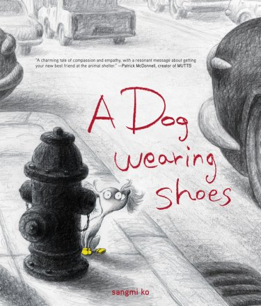 a  dog wearing shoes cpver