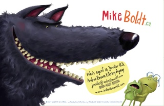 Illustrator, Mike Boldt's Promo Postcard (see those teeth--(wolf's not Mike's)