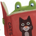 partial frog with cat book