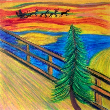 Daryn Pake Martin, Edvard Munch's Christmas Tree, oil pastel