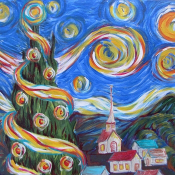 Donna Cooper Smith, Vincent van Gogh's Christmas Tree, acrylic on canvas