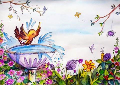 ten zany birds bird bath